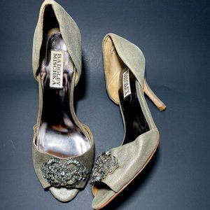 Badgley Mischka Metallic Embellished  D'Orsay Heel